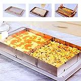 Cake Tin Baking Frame Rectangular Adjustable - Baking Pan Square, Extendable, 5cm high - Stainless Steel Cake Ring, 100% rustproof, Dishwasher safe(Silver)