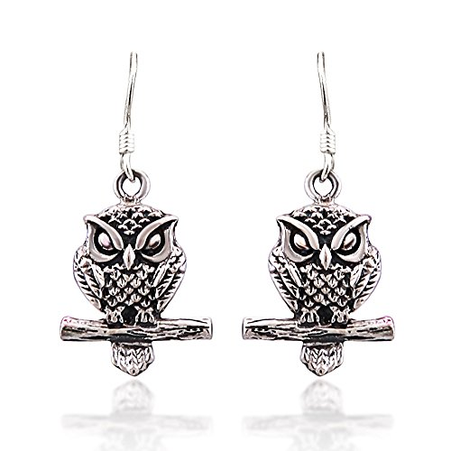 925 Sterling Silver Oxidized Detailed Midnight Owl on Branch Hook Earrings