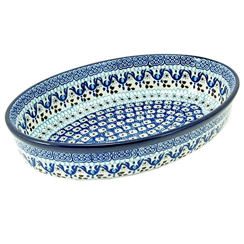 Polish Pottery Hand Crafted 11'' Oval Baking Dish 298-Ice Capades by Polish Pottery Boleslaweic