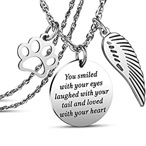 JanToDec Jewelry Pet Memorial Necklace Loss of Pet Memory Gift Dog Cat Loss Pendent Necklace, You Smiled with Your Eyes, Laughed with Your Tail, and Loved with Your Heart 39