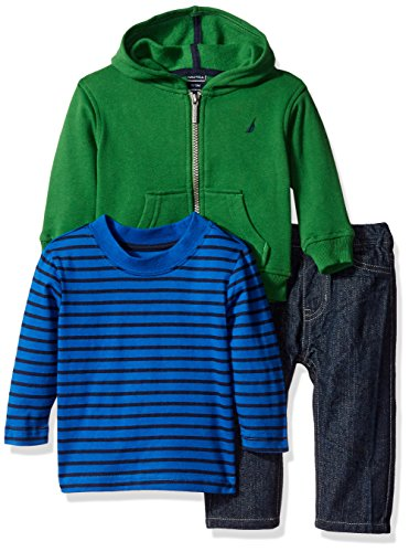 Nautica Boys' Three Piece Fleece Set with Full Zip Hoodie, Long Sleeve Tee and Denim Jean, Green, 24 Months