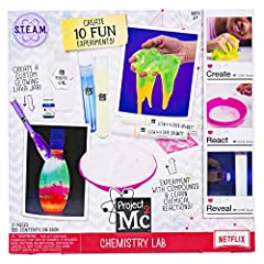 Grab your lab coat and your glasses…things are about to get messy! Transform your kitchen into a chemistry lab and perform simple science experiments just like Adrienne atoms with the project MC2 chemistry lab! Explore ten bubbling, fizzing a...