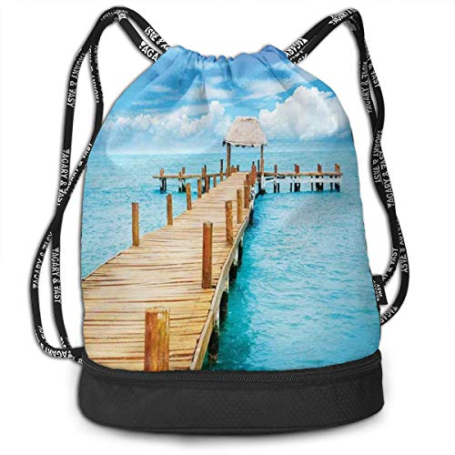 Drawstring Backpack bags, Bungalow On Clear Sea Travel Destination Beach Seascape Exotic View ()