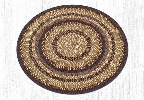 - 4'X4' Black Cherry/Chocolate/Cream Round Braided Rug