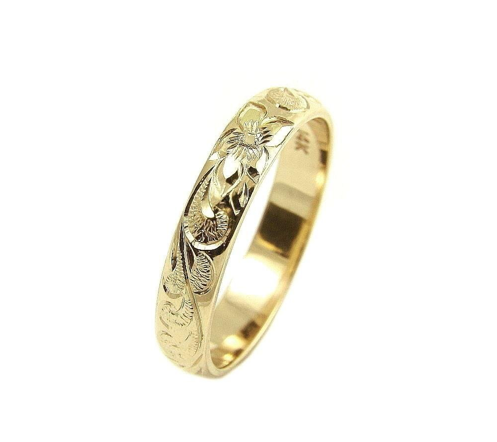 14K yellow gold custom hand engrave Hawaiian queen plumeria scroll band ring 4mm size 7 by Arthur's Jewelry (Image #1)