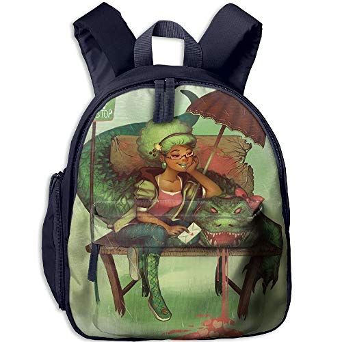 Kindergarten Boys Girls Backpack Art Girl African Woman Black Crocodile Bus School Bag -