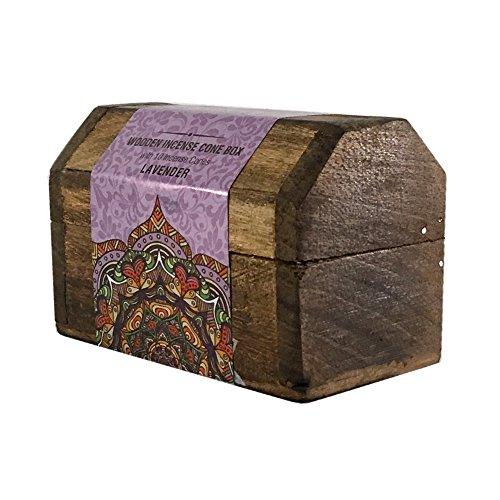 Incense Cone Box - Karma Scents Handmade Mangowood Incense Cone Box with 10 Karma Incense Cones (Lavender)