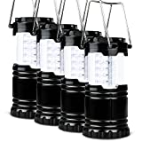 LED Camping Lantern - 4 Pack Portable LED Camping Lantern, Novelty Place [Heavy Duty & Waterproof] Outdoor Hiking Gear Lights - Ultra Bright Compact Size - Battery Powered Emergency Flashlight