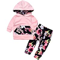 Lovely Baby Girls Outfit Winter Floral Hoodie with Pocket Flower Long Pants Set Leggings 2pcs