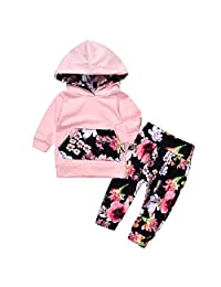 2pcs Baby Girl Floral Print Pullover Hoodies with Pocket Top+Flower Long Pants Set