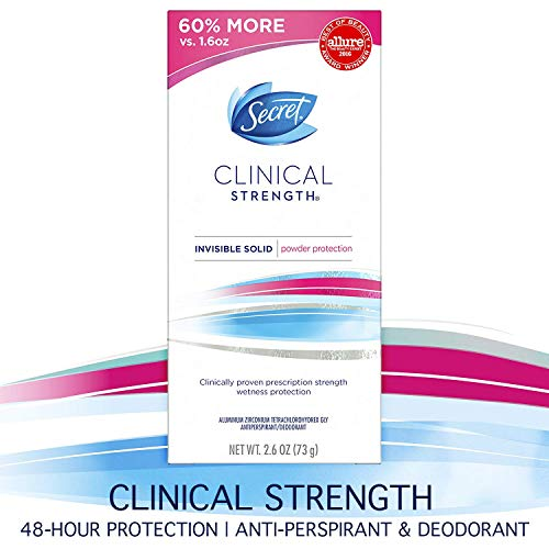 Secret Antiperspirant and Deodorant for Women, Clinical Strength Invisible Solid, Powder Protection, 2.6 Oz (Best Prescription Strength Antiperspirant)