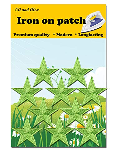 Iron On Patches - Green Star Patch 10 pcs Iron On Patch Embroidered Applique 1.57 x 1.57 inches (4.0X 4.0 cm) A-104