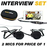 2x Lavalier Microphones plus Lapel Mic audio splitter / y-connector   mics for vlogging streaming interview podcast recording for 1 iPhone / smartphone