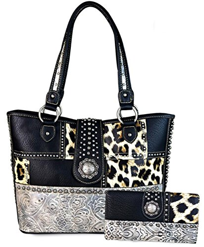 (Montana West Concealed Carry, Floral Tooled Leopard Print Large Tote (Black))