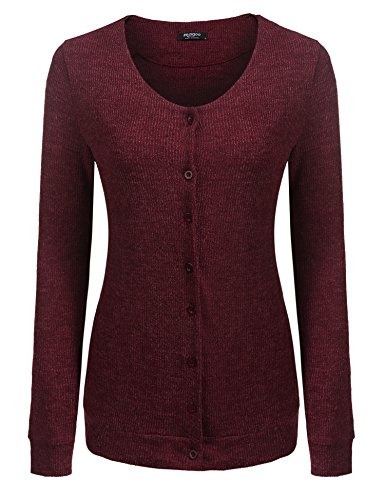 Cardigan Detail V-neck (Beyove Women's Long Sleeve Button Detail Classic V-Neck Cardigan Sweater Wine Red X-Large)
