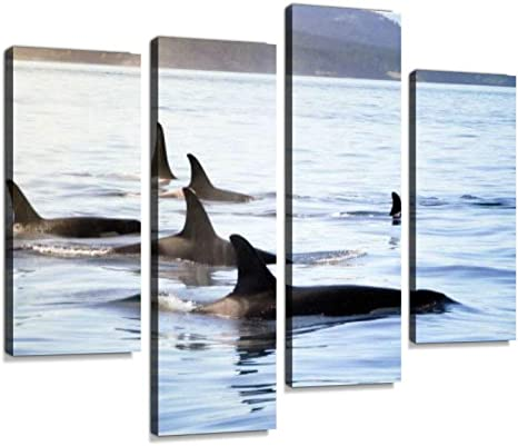 Pod Of Orca Killer Whales Canvas Wall Art Hanging Paintings Modern Artwork Abstract Picture Prints Home Decoration Gift Unique Designed Framed 4 Panel Posters Prints