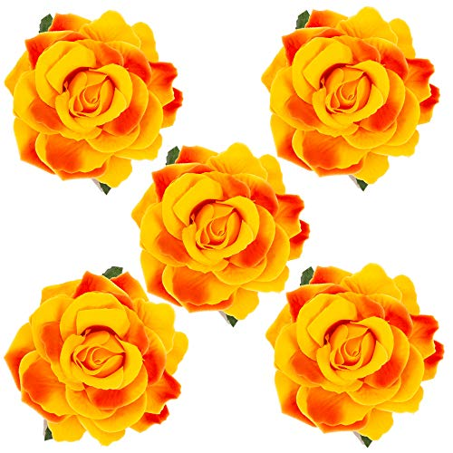 HOPEANT 5 Pcs Big Rose Flower Hair Clips Brooch Pins Accessories for Women Girl Bridal BXH35-5 (Light Orange) ()