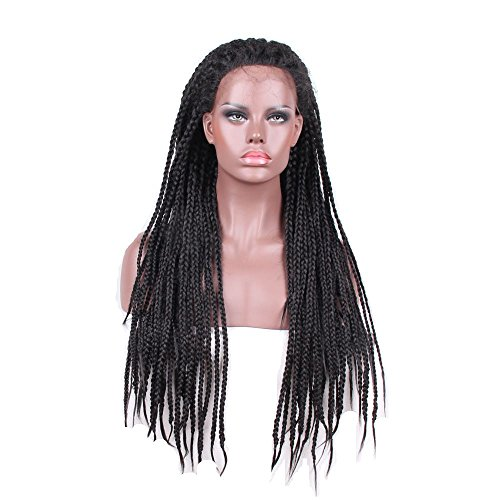 HAIR WAY Synthetic Box Braided Lace Front Wig Glueless Long Braided Lace Wig with Baby Hair and Natural Hair Line for Black Women Half Hand Tied 450g 26inches (Black Long Wig With Two Braids)