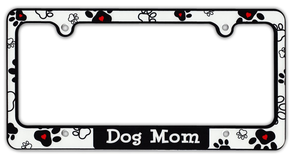 Plastic License Plate Frame Tag Holder - Dog Mom - Dogs, Hearts, Paws