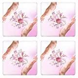 Luxlady Square Coasters Non-Slip Natural Rubber Desk Coasters IMAGE ID: 25912556 Beautiful Female Hands with Flowers Pink Exotic Lily Spa