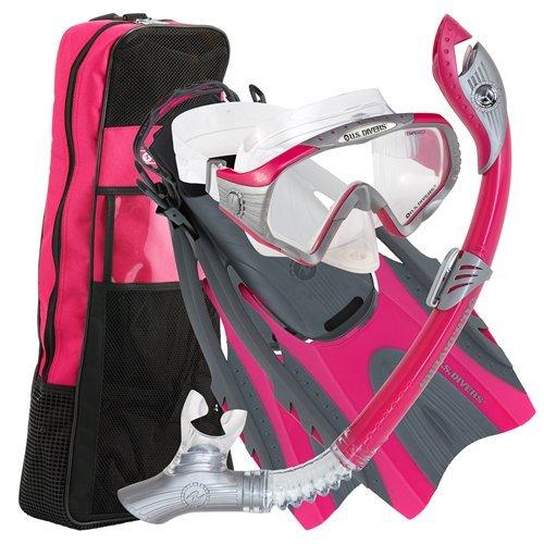 U S  Divers Pro Lx  Snorkel Set With Starbuck Iii Lx Purge Mask  Gun Metal Pink  Small Medium
