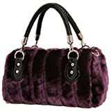 [KIREI obsession] Women's, Top Handle Bag, Faux Fur (Rabbit-Style), Cross Body, Shoulder, 2-way, [PURPLE]