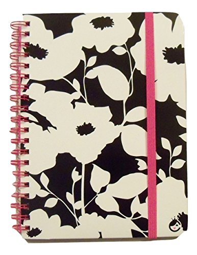 Carolina Pad Studio C College Spiral Notebook with Elastic Closure ~ Fashionista (White Flowers on Black; 5