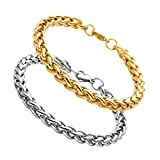Jusnova Stainless Steel Wheat Chain Bracelet for Men Women 7mm Wide 8 Inches 2 Colors Gold Silver