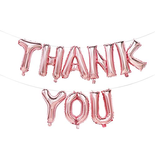 Thank You Balloons Rose Gold | Thank You Foil Balloons Banner | Thank You Decorations for Wedding Party, Baby Shower | 16inch -