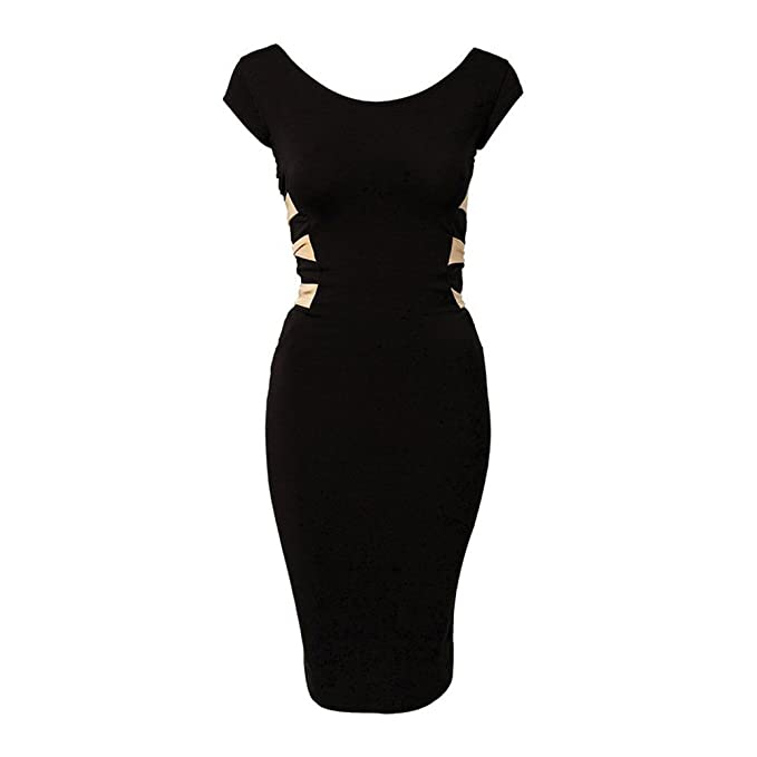LOBZON Damen Schlauch Kleid schwarz schwarz Gr. 34, schwarz