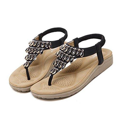 Bas Womens Strass de élastiques Plage Sandales Bohème Fashion Talons Flip Chaussures Noir avec Flops d'été w5xP0nSYZq