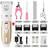Bojafa Dog Grooming Clippers Low Noise Cordless Pet Grooming...