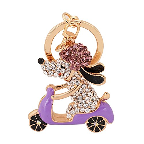 Refaxi Lovely Dog Puppy Keyring Rhinestone Charm Pendant Purse Handbag Key Chain Ring,Purple - Puppy Dog Handbag Purse Accessory