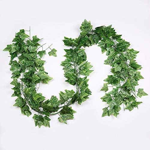 RuiLing 12 Strands Artificial Hanging Ivy Vine Leaf for Home Decorations Green Fake Foliage Simulation Plants Sweet Potato Leaves