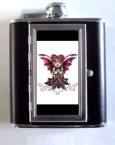 Goth Fairy Bad Bat Girl Tattoo 5oz Flask Cigarette Case ID - Goth Bad