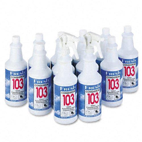 103 Odor Counteractant Concentrate Lemon (Fresh Products Conqueror 103 Odor Counteractant Concentrate, Lemon Scent, Liquid, 1 qt. Bottle (12 Per Carton) - BMC-FRS 12-32WB-LE)
