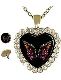 Wings of an Angel Custom Heart Bronze Pendant Necklace Label Jewelry Crystal Glass Necklace Earrings Jewelry Set...