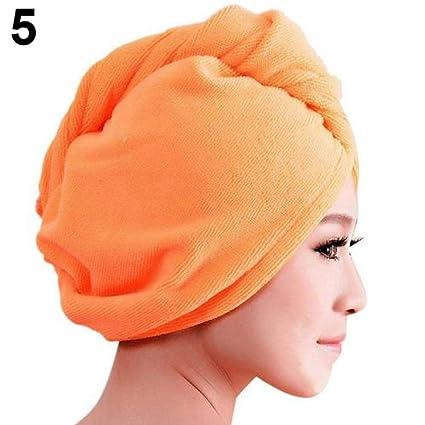 Moda térmica antideslizante Cabello turbante Toalla de algodón ...