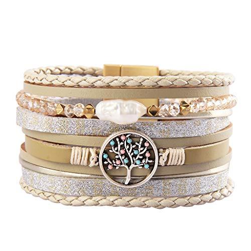 joymiao Womens Leather Cuff Bracelet with Pearl Boho Bangle Tree of Life Handmade Jewelry for Teen ()