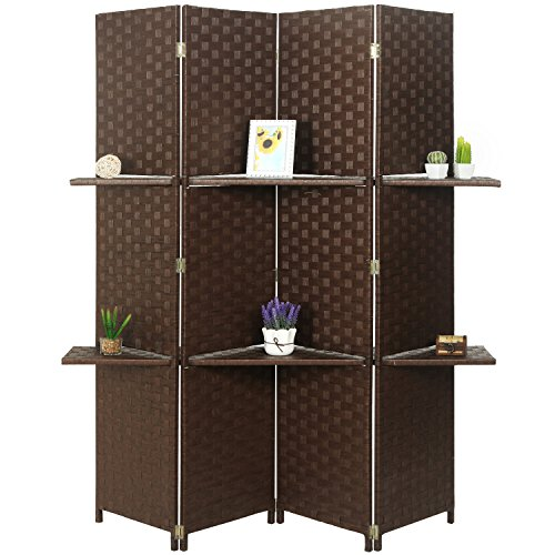 MyGift Woven Wood 4 Panel Room Divider with 2 Removable Shelves, Brown by MyGift