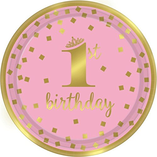 1st Birthday Girl Party Supplies, Pink and Gold Design, Bundle of 4 Items: Dinner Plates, Dessert Plates, Lunch Napkins and Beverage Napkins by TwoTwelve Products (Image #3)