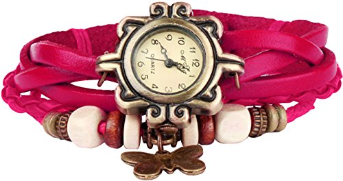 Pendant Quartz Rose Butterfly - Bohemian Style [Retro] Handmade Leather [Butterfly Pendant] Wrist Watch. Beautiful, Fashionable [Luxury] & Stylish [Weave Around] Wrap Watch Bracelet For Women, Ladies, Girls- Rose
