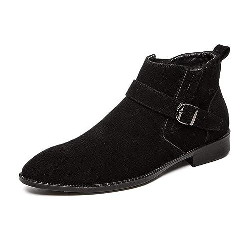 CHENJUAN Zapatos Botines de Moda para Hombre Ocasional Conveniente Súper Ligero Lana de imitación de Invierno Dentro de Bota Superior Alta (Convencional ...