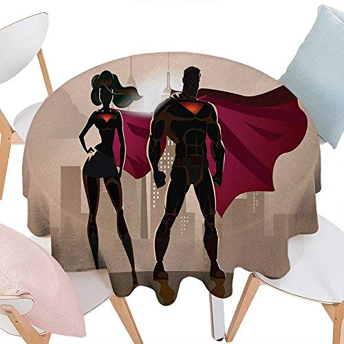 cobeDecor Superhero Dinning Round Tabletop DecorSuper Woman and Man Heroes in City Solving Crime Hot Couple in Costume Round Table Cover for Kitchen D54 Beige Brown Magenta for $<!--Too low to display-->
