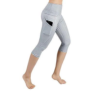 664358b95e4ca SGMORE ❤ Women's High Waist Yoga Pants Workout Running Leggings  Capris with Pocket