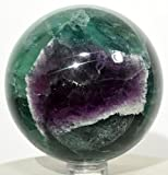 2.3'' Green & Blue w/Purple Window Fluorite Sphere Natural Gemstone Crystal Mineral Ball from China + Plastic Stand