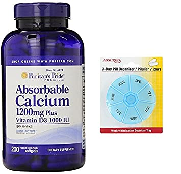 Pride calcio absorbible de Puritan con cápsulas de 1000 UI de vitamina D 3, 1200