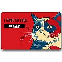 Burning Love Short Plush Material I Have An Idea Go Away Cat Printed Doormat , Non-slip Doormats, Size40X60CM.