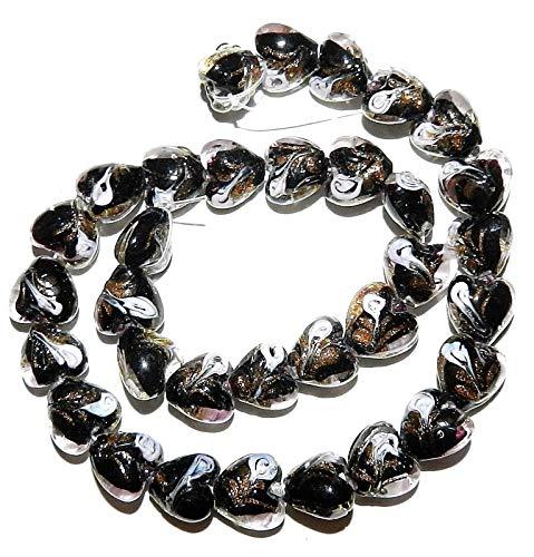 Black with Gold Glitter Pink Swirl 10mm Heart Lampwork Glass Beads 12 ()