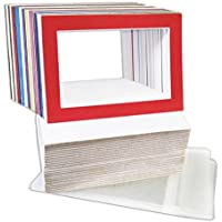 Golden State Art, Pack of 50 Mix Pre-Cut 5x7 Picture Mat for 4x6 Photo with White Core Bevel Cut Mattes Sets. Includes 50 High Premier Acid Free Bevel Cut Matts & 50 Backing Board & 50 Clear Bags